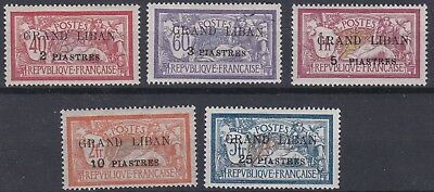French Colonies  Grand Liban  1924  Sg  10 - 14    Set Of 5  Mh   Cat £75