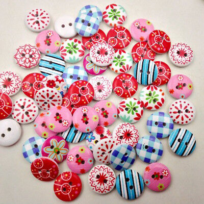 100Pcs/Pack Sewing Plastic Round Buttons 2 Holes for Kid Craft  Multicolor Nice