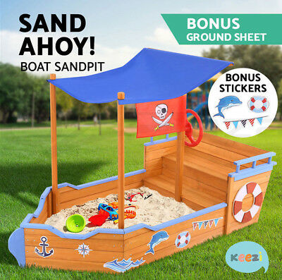 Kids Boat Sandpit Wooden Outdoor Garden Play Sand Pit Toys Box Canopy Children