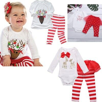 Cute 1st Christmas Newborn Baby Girls Romper Tops Striped Pants Outfit Clothes