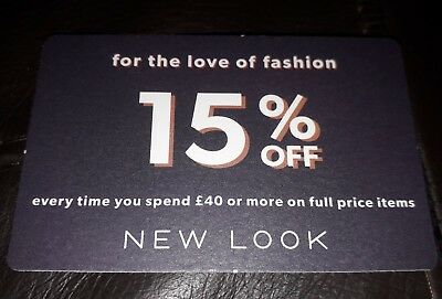 New look UNLIMITED USE Voucher 15% off £40 full price card code 2nd Nov-24th Dec