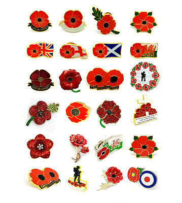 Armistice Remembrance Day 3D Poppy Red Blue Diamante Crystal Pin Badge Brooch