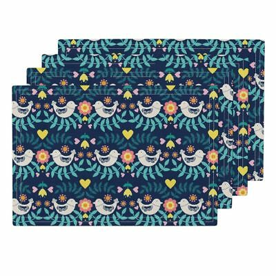 Cloth Placemats Folk Floral Flowers Nature Pretty Tulip Bird Set of 4