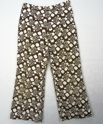 Vintage 60s Kids Novelty Print Pants 21x17 4T Brown Flower Power Hippy As-Is