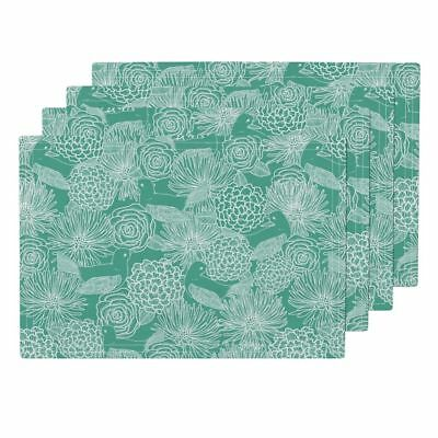 Cloth Placemats Bird Nature Pretty Pattern Green Floral Flower Set of 4