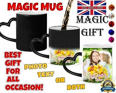 Personalised Magic Mug Cup Heat Colour Changing Custom Photo Text Heart Handle