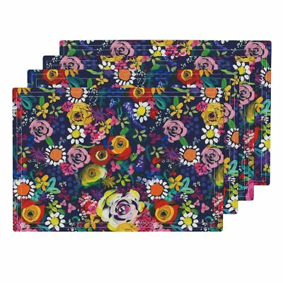 Cloth Placemats Funky Floral Pretty Floral Neon Flowers Flower Painting Set of 4