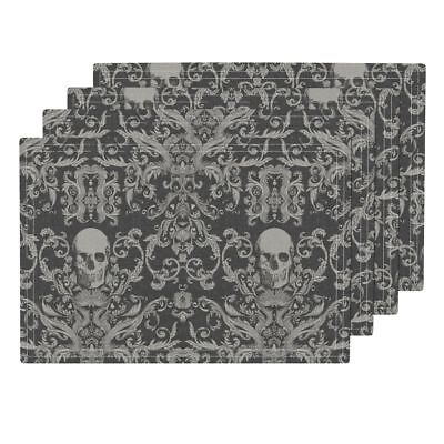 Cloth Placemats Damask Bones Skull Floral Haunted Macabre Spooky Set of 4