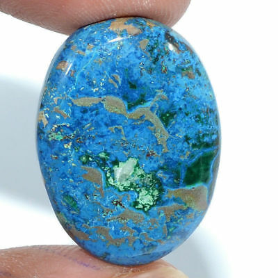 Cts. 29.25 Natural Azure Color Azurite Cabochon Oval Cab Loose Gemstone