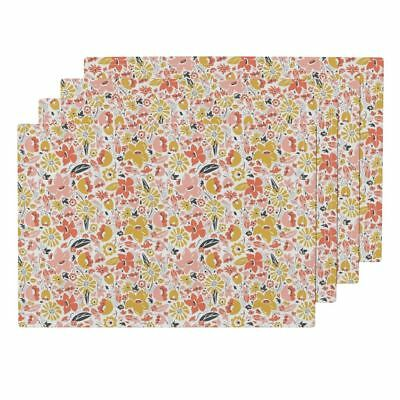 Cloth Placemats Flower Floral Flowers Pink Coral Modern Pretty Set of 4