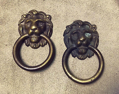 antque ALL BRASS LION HEAD DRAWER or DOOR PULLS matched pair