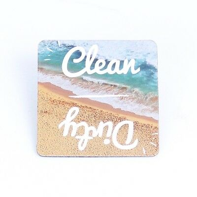 "Beach Clean Dirty Dishwasher Magnet Sign Indicator 2"" Square"