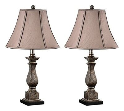 """Kings Brand 25"""" H Brushed Silver/Brown Fabric Shade Table Lamps, Set Of 2"""