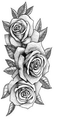 High Quality 13cm x 6cm Temporary Tattoo Rose Flower Waterproof Body Art