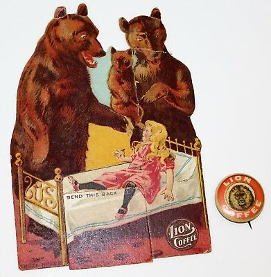 LION COFFEE The Three Bears Children's Dolls with Stories & Celluloid Button Pin