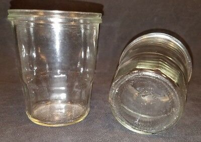 Vintage Ball Top Cap Jelly Jar Clear Glass Lot Of 2 6Oz. No Lid