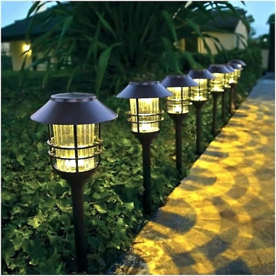 Solar Outdoor Integrated LED Landscape Path Light 6 PACK Pathways Steps Garden