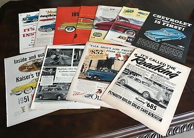 Vintage Automobile Mag Ads LOT of 11 1940s-1950's Lot #5