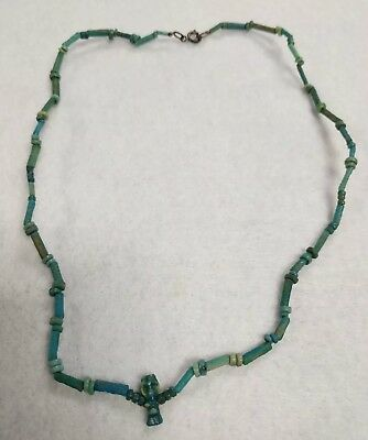 Ancient Egyptian c. 664 - 30 BC Faience Bead God Bes Amulet Necklace