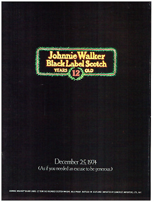 1974 Johnnie Walker Black Label Scotch 12 Years Old Black Vintage Original Ad
