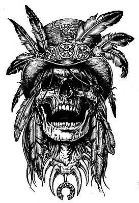 High Quality 13.5cm x 9.5cm Temporary Tattoo Indian Skull Waterproof Body Art