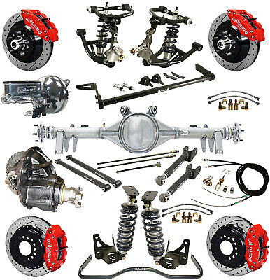 """Ridetech Coilover System,currie Rear End,wilwood Disc Brakes,13"""" Drilled,red"""
