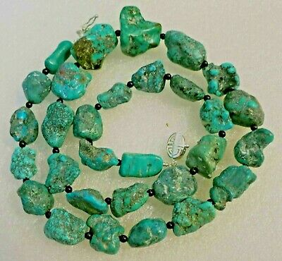 """23"""" Vintage Antique Chinese Carved Natural Turquoise Beads Necklace"""