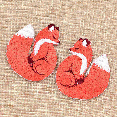 Pair Fox Patches Embroidery Iron On Rayon Fabric Applique DIY Sewing Craft Decor