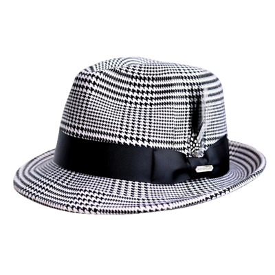 Steven Land Elite Men s New Yorker Collection Fedora Hat Black White 100%  Wool 05ef4fa59a4