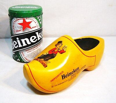 Vintage Advertising Heineken Beer Wood Shoe, Made in Holland, With A Free Tin