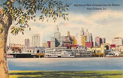 Skyline Of New Orleans From The Harbor  View  New Orleans, LA Vtg Linen Postcard