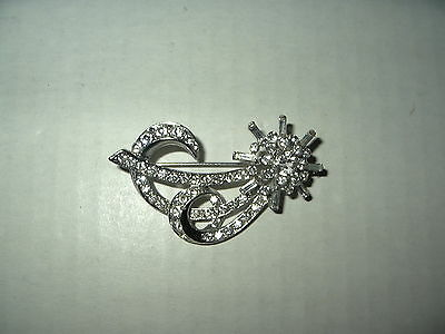 Vintage Signed DAFRI Art Deco Silvertone Clear Rhinestone Abstract Brooch Pin