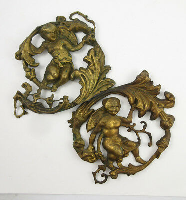 2 Antique Victorian era Brass Architectural Ornaments - with cherubs