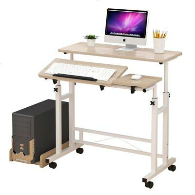 Mobile Laptop PC Computer Desk Office Stand Height Adjustable Work Table