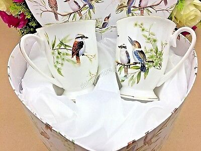 2 x Fine Bone China Kookaburra Bird 280ml Mug Set In Heart Shape Gift Coffee Tea