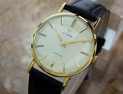 Cyma Swiss Made Vintage 1950s Manual Gold Plated Collectible Mens Watch H11