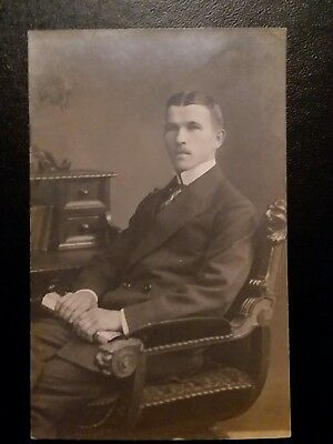 Man In A Chair..Real Photo Post Card..Vintage