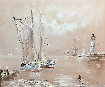 Rikard Lindstrom Oil on Canvas Painting Listed Artist Original Harbor Scene