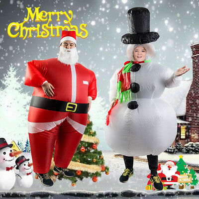 Adult Inflatable Santa Claus Dress Costume Christmas Party Blow Up Suit Outfit