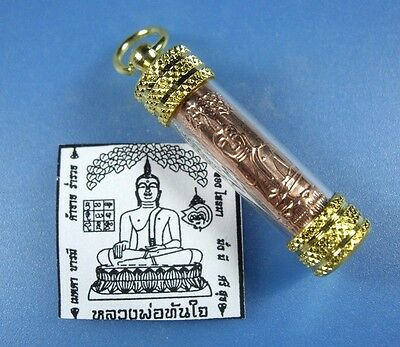 Takrut LP Tunjai Pendant Buddha Thai Amulet Magic Sacred Good Luck Metal Copper