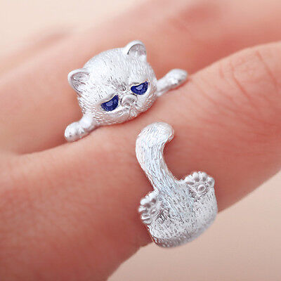 Silver Plated Lovely Cat Kitten Women Jewelry Opening Adjustable Ring Retro