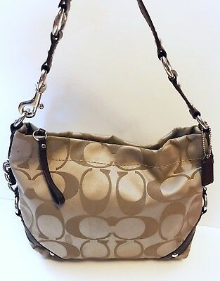 67c954155304 Coach Brown Sateen Signature Carly Hobo Bag Purse Shoulder Soho Satin
