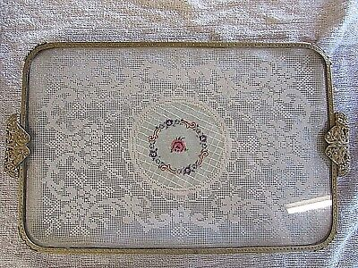 Vintage Embroidered Lace Glass Dressing Table Vanity Tray
