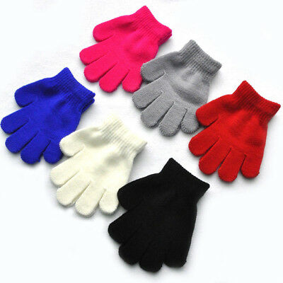 Kids Solid Full Finger Gloves Winter Warm Baby Children Knitted Stretch Mittens