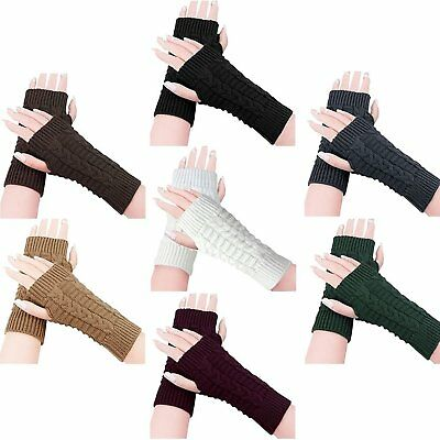 Fashion Fingerless Winter Gloves Unisex Men Women Knitted Soft Warm Mitten Gift