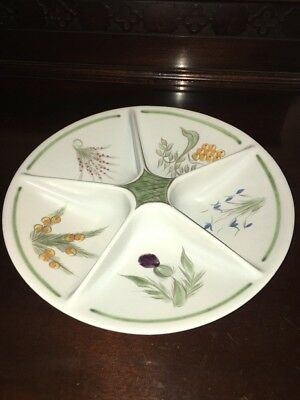 """Buchan Stoneware Scotland Large Sectioned Snack Plate Thistle Pattern 11.5""""RARE"""
