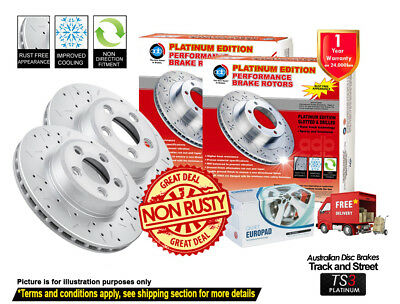 BMW X5 E70 F15 3.0L 320mm 07-On REAR Slotted Drilled Disc Rotors & Brake Pads