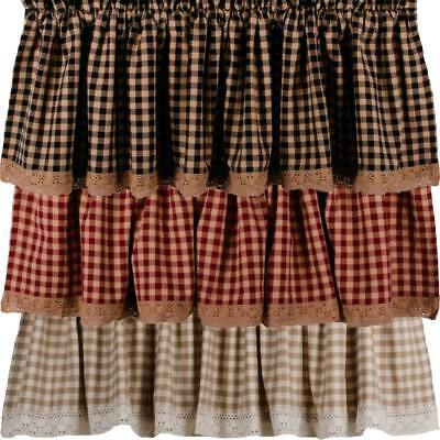 Heritage House Lace Valance Red Black or Cream