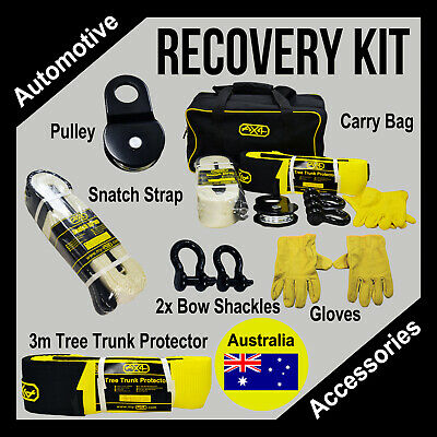 4WD Winch Recovery Kit Snatch Strap Pulley Block Bow Shackles Bag