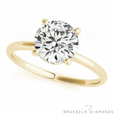 0.82 Ct H/SI1 REAL DIAMOND Solitaire Engagement Ring Round Solid 14K Yellow Gold